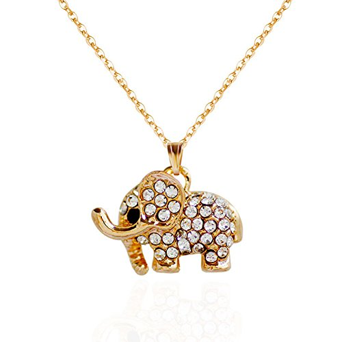Dream Date Crystal-Mounted Cute Elephant Pendant Luxury Gold-plating ()