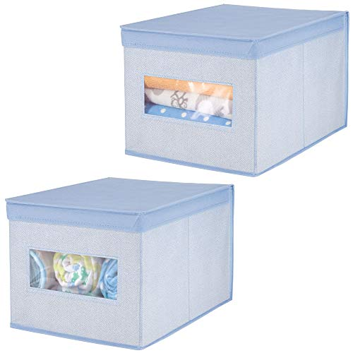 mDesign Decorative Soft Stackable Fabric Closet Storage Organizer Holder Box - Clear Window, Lid, for Child/Kids Room, Nursery - Large, Collapsible Foldable - Herringbone Print, 2 Pack - Blue