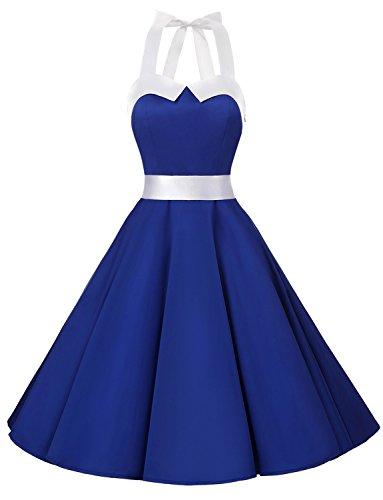 Dressystar Vintage Polka Dot Retro Cocktail Prom Dresses 50's 60's Rockabilly Bandage Solid Royal Blue L]()