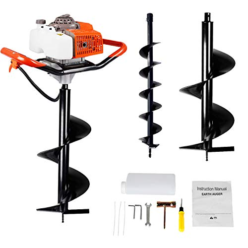 "ECO LLC 63CC Heavy Duty Gas Powered Post Hole Digger with Two Earth Auger Drill Bits (4"" & 12"")"