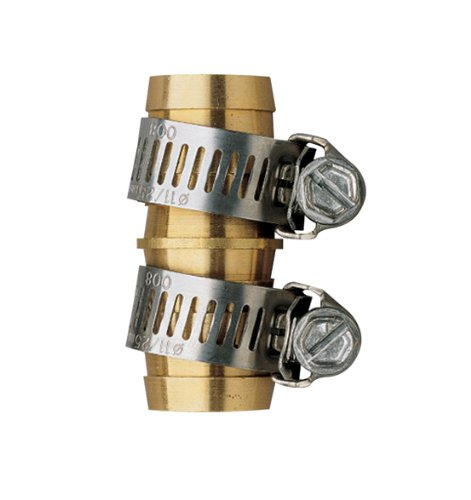5 Pack - Orbit Brass 5/8 Inch Water Hose Repair Mender with Clamps