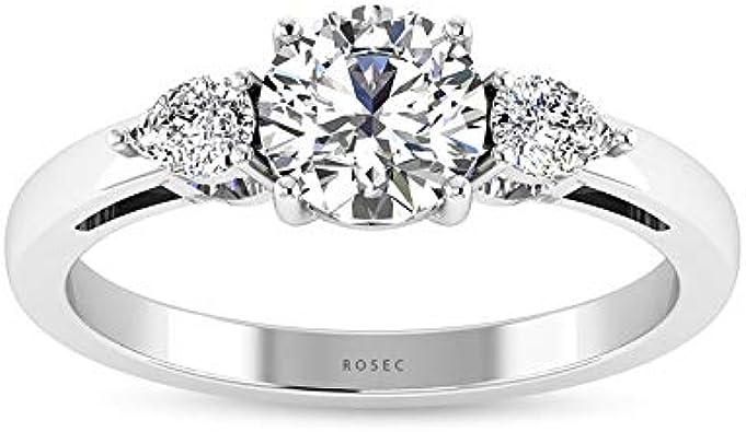 Anillo de compromiso de diamante certificado IGI de 0,25 ct, redondo en forma de pera, anillo de tres piedras, claridad de color IJ-SI Anillo de mujer, anillo de oro de aniversario de boda