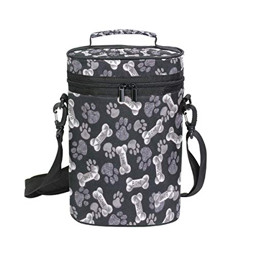 Wine Bag Bone Dog Paw Print 2 Red Wine Travel Bag Insulated Wine Tote Carrier Cooler Bags with Handle and Adjustable Shoulder Strap
