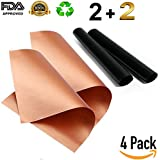 BBQ Grill & Baking Mat Set of 4 (2 Black and 2 Copper) Buy 2 - Get 4 Non-Stick FDA-Approved, Reusable and Easy to Clean15.75 x 13 inch