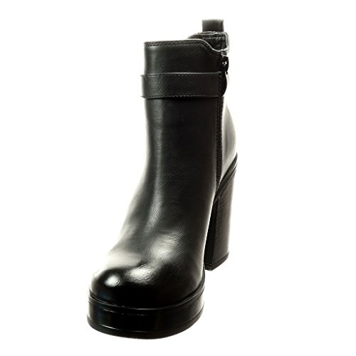 Preta 5 Calcanhar Alto Plataforma Cm Bloco 8 Arco Angkorly Botina Sapatos Boots Salto Mulheres Ankle Sapatos OzwqSZR