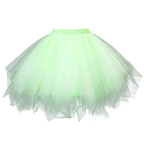 MsJune Women's 1950s Vintage Petticoats Crinolines Bubble Tutu Dance Half Slip Skirt (S/M, Lightgreen)