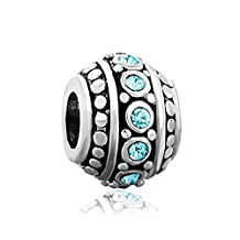 Filigree March Blue Birthstone Crystal Charms Jewelry Cheap Silver Plated Bead Fit Pandora Bracelet