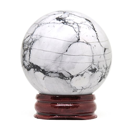 NSC Trading 50mm White Gray Howlite Turquoise Crystal Gemstone Sphere with - Stone Spheres Crystal And
