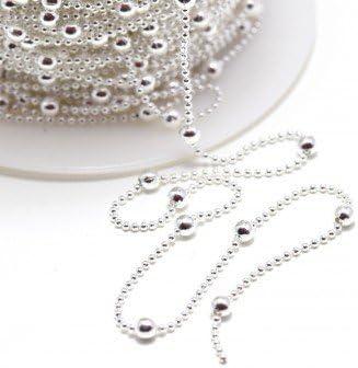 Calidad superior–cadena de bolas latón plateado 1,2mm con bolas redonda de 3mm cadena cuentas al metro