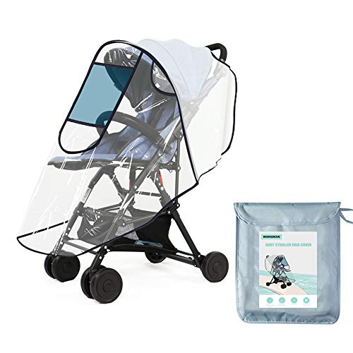 Universal Baby Stroller Rain Cover for Most Pushchair Pram Buggy with UV Protection Window Zip Front Opening, EVA Transparent Waterproof Wind Dust Snow Weather Shield