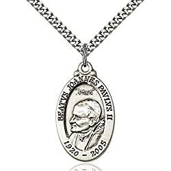 Sterling Silver St. John Paul Ii Pendant 1 18 X 34 Inches With Heavy Curb Chain