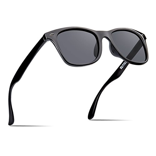 Polarized Sunglasses For Men Women Retro Black Frame Square Shades BRAND DESIGNER Classic Sun ()