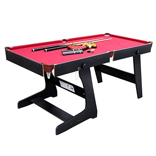 [HLC 5.8 ft Folding Snooker Billiards Table with Snooker and Pool Ball Sets, Red] (Folding Pool Table)