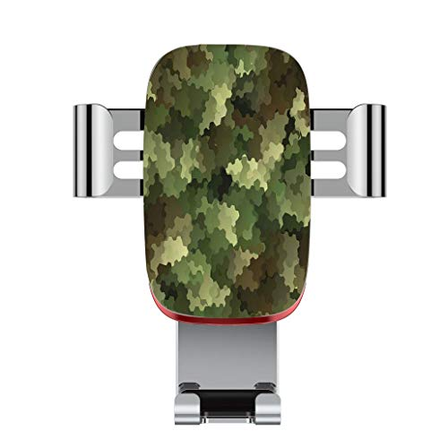 Metal automatic car phone holder,Camo,Frosted Glass Effect Hexagonal Abstract Being Invisible Woodland Army,Green,adjustable 360 degree rotation, car phone holder compatible with 4-6.2 inch smartphone