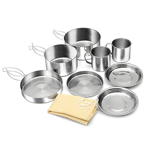 GEERTOP Portable Camping Cookware Stainless Mess Kit Non-Stick Camp Cooking Pots and Pans Set for 2 People Outdoor Hiking Backpacking Picnic Cook Gear (8pcs/Set, 430 Stainless Steel) ()