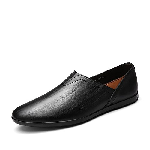 Meimei uomo 38 leggeri Fashion Color Leather minimaliste Mocassini Mocassini PU da Scarpe Dimensione EU shoes Nero on Slip rtaHvqrx