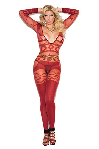 Plus Size Full Figure Curvy Long Sleeve Opaque Bodystocking- Fits size 14-18