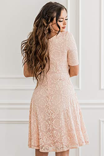 cd916b61bf75d Mikarose Sloan Modest Dress In Blush Pink Lace, Modest Bridesmaid Dress,  Modest Semi-