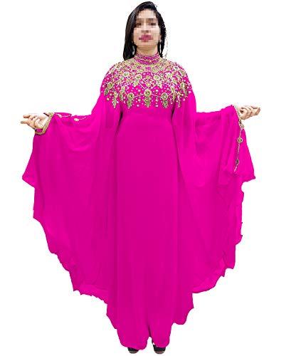 African Boutique Dubai Kaftan Abaya Jalabiya Maxi Gown Hand Work Golden Beaded African Dress - -