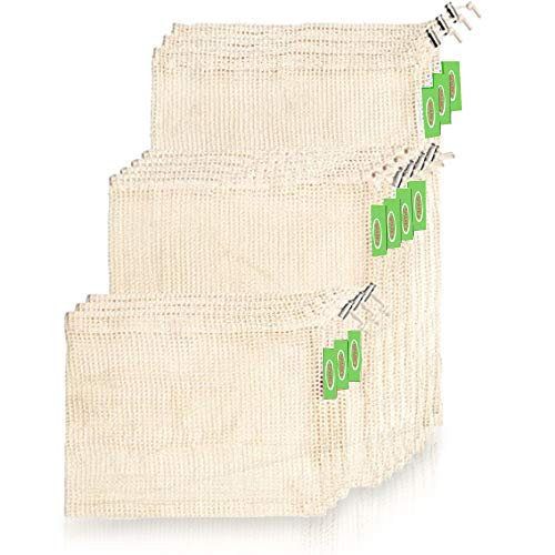 REUSABLE PREMIUM PRODUCE BAGS for Grocery Shopping & Storage 2019 NEW EDITION | 7pc Set 6 bags and 1 RPET pouch| Biodegradable & Washable |ECO Friendly