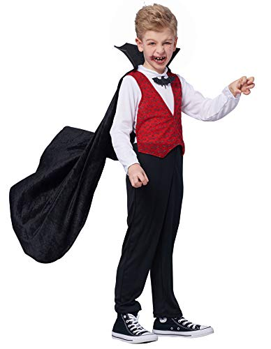IKALI Boys Vampire Costume, Kids Halloween Dracula Cape Fancy Dress (Best Vampire Costume Ever)