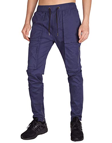 - ITALY MORN Men's Chino Cargo Pants Slim Fit Ankle Zipper (XS, Midnight Blue)