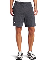 Russell Athletic Men's Cotton Baseline Short With Pockets, Black Heather, Large