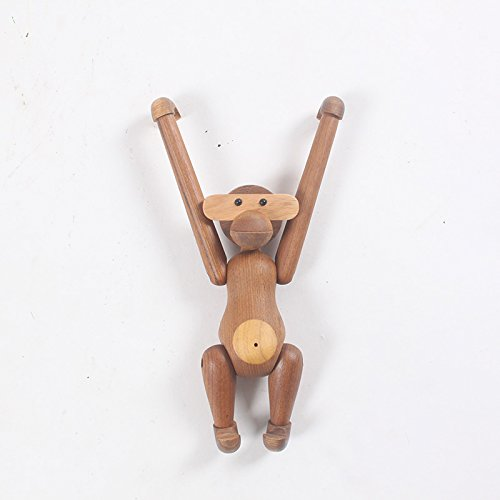 Nordic Style Teak Wood Creative Animal Statues Models Home Decoration Arts and Crafts (Monkey)
