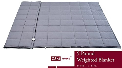 GSM Home Weighted Blanket - Premium Kids - for Children - 5 lbs, 36 x 48 inches