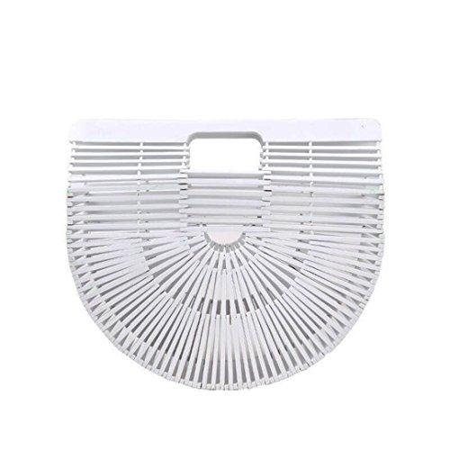 Women Handbag Female Big Travel Vacation Totes Bamboo Handbag For Ladies Woven Straw Beach Bag Summer Women's Purse White S 28cm