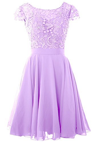 MACloth Women Cap Sleeve Mother of the Bride Dress Lace Short Formal Party Gown Lavanda
