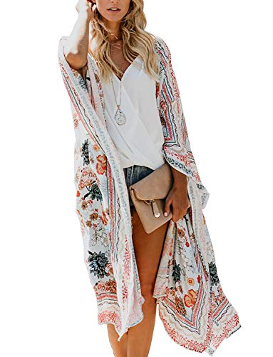 Women's Open Front Bathing Suit Cover Ups Sheer Chiffon Floral Printed Kimono Cardigan (Multicolored, Large)