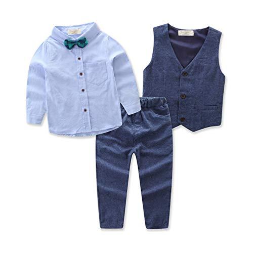 SIUONI 3Pcs Autumn Children Clothing Set Baby Boys Gentleman Suit Long Sleeve T-Shirt Vest Pant Outfits Set Leisure Suit (4T) Blue