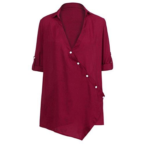 Longues Cou Shirt Lache V T Mode Bringbring Occasionnels Rouge Blouses Femmes Blouse Chemises Manches R041qRCXWn