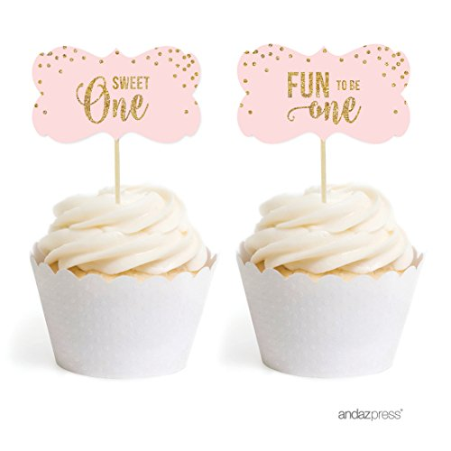 Andaz Press Blush Pink Gold Glitter Girl's 1st Birthday Party Collection, Fancy Frame Cupcake Topper DIY Party Favors Kit, 18-Pack