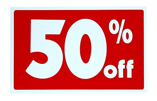 "1 Set Likely Unique Sale 50% Percent Off Sign Plastic Cards Promotion Indoor Decal Home Holder Post Homes Land Decals Display Yard Signage Store Retail Banner Clearance Price Signs Size 7""x11"""