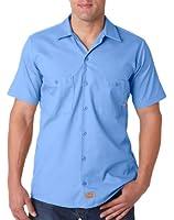 Dickies Men's Short-Sleeve Front Pockets Work Shirt, Light Blue, Medium