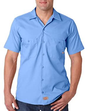 Men's Short Sleeve Industrial Poplin Work Shirt_LIGHT BLUE DOW_3XL