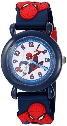 Marvel Boy's 'Spider-Man' Quartz Plastic Casual Watch, Color:Blue (Model: WMA000160)