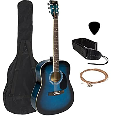 Best Choice Products 41in 21-Fret Full Size All-Wood Acoustic Guitar Starter Kit w/Case, Pick, Shoulder Strap, Extra Strings - Blue