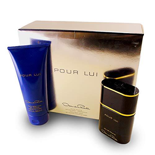 Oscar De La Renta Pour Lui 2 Pc. Gift Set (Eau De Toilette Spray + Hair & Body Wash) for Men, 3 Fl Ounce