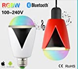 Bluetooth Smart LED Light Bulb Speaker Dimmable Multicolored Color Changing LED Bedside Desk Lights Bar Sinks - Smartphone Controlled (White+red)