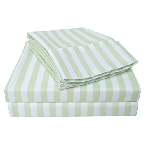 Wrinkle Resistant 3000 Series Cabana Stripe King Bed Sheet Set, Sage - Luxury Cabana Sheet Sets