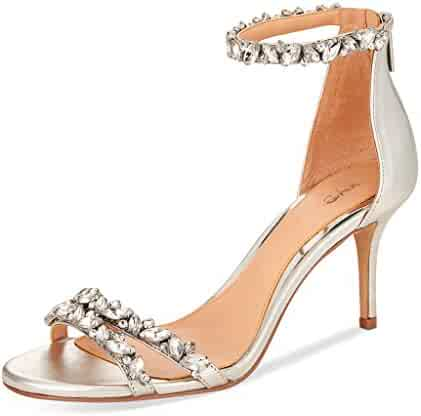583c7ae62d84 XYD Women Mid Heel Rhinestone Strappy Sandals Open Toe Ankle Strap Prom  Evening Party Dress Shoes