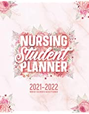 Nursing Student Planner 2021-2022 Monthly Calendar And Weekly Planner: 12 Month Agenda Inspirational Quotes Pink Floral Marble Nursing School Organizer July 2021 - June 2022: Time Management Journal