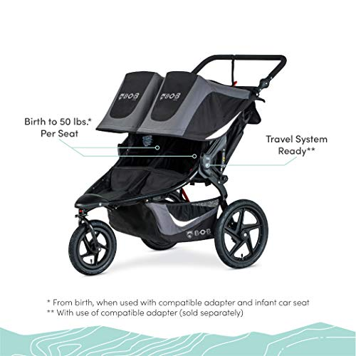 41tdbQz7fVL - BOB Gear Revolution Flex 3.0 Duallie Double Jogging Stroller | Smooth Ride Suspension + Easy Fold + Adjustable Handlebar, Graphite Black [New Logo]