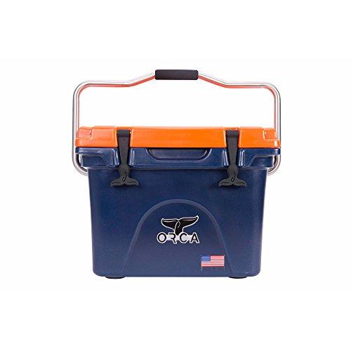 ORCA 20 Quart Navy/Orange Cooler with Handle