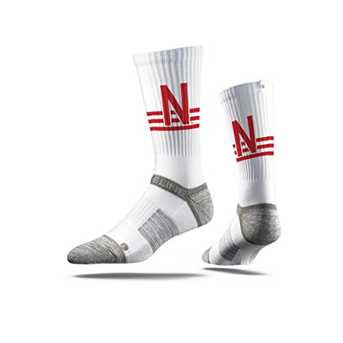 Strideline NCAA Nebraska Cornhuskers Premium Athletic Crew Socks, White, One Size (Nebraska Athletics Cornhuskers)
