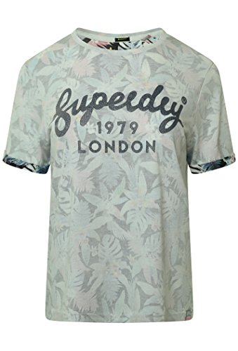 Superdry Damen T-Shirt, Geblümt Grau Black Tropical AOP