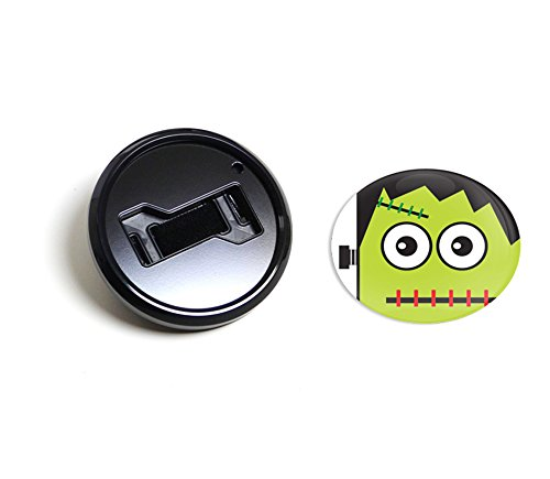 GoBadges BKC052 Halloween Frankenstein - Magnetic Black Grill Badge Holder Combo/Universal Fit/No Tools Required/Weather-Proof And Car-Wash Safe -